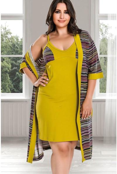 Lady Lingerie Derin V Yaka İnce Askılı Kadın 4lü Pijama Seti 18120