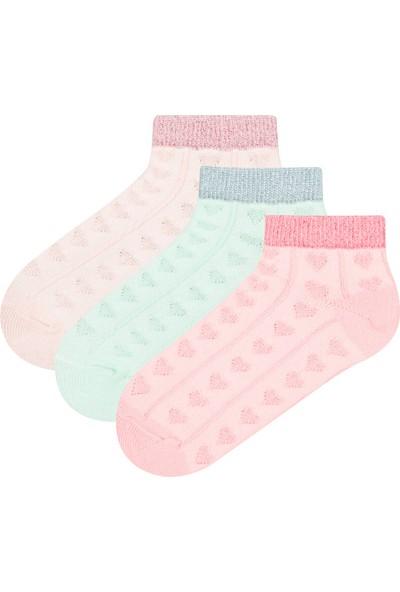 Penti Çok Renkli Kız Çocuk Sim Heart 3'lü Patik Çorap
