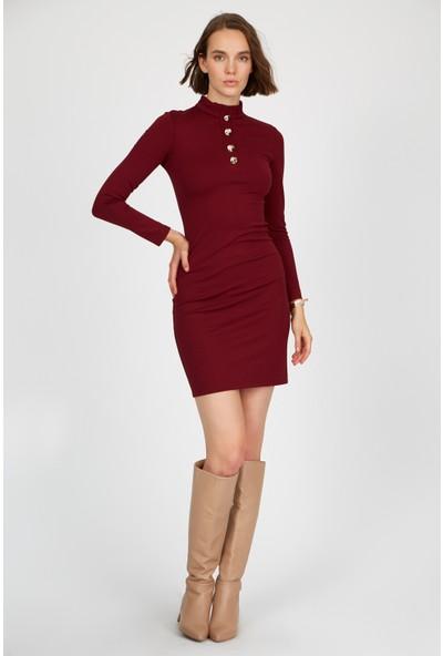 Setre Bordo Uzun Kol Diz Üstü Elbise