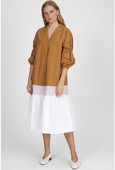 Setre Camel-Lila Kol V Yaka Midi Boy Doğal Kumaş Elbise