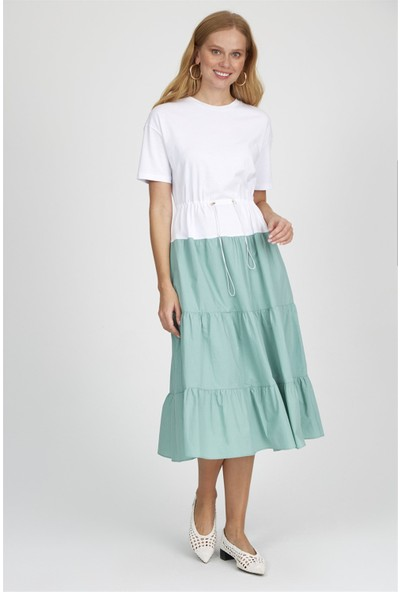 Setre Ekru-Koyu Mint Kısa Kol Beli Lastikli Color Block Diz Altı Midi Boy Pamuk Elbise