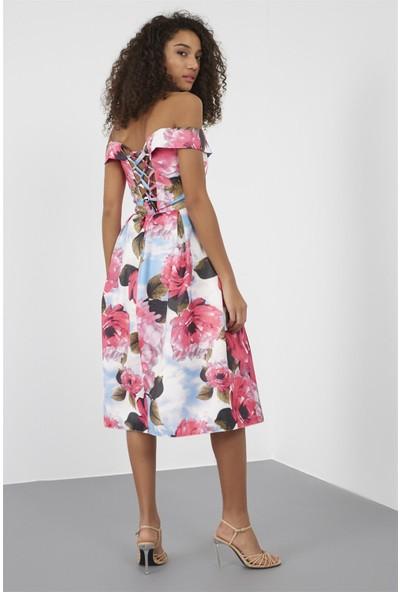 Setre Fuşya Düşük Kol Pencereli Volan Etek Diz Altı Midi Boy Floral Desen Elbise