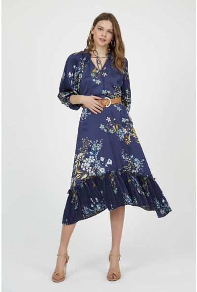 Setre Lacivert V Yaka Balon Kol Bele Oturan Diz Altı Midi Boy Floral Desen Elbise
