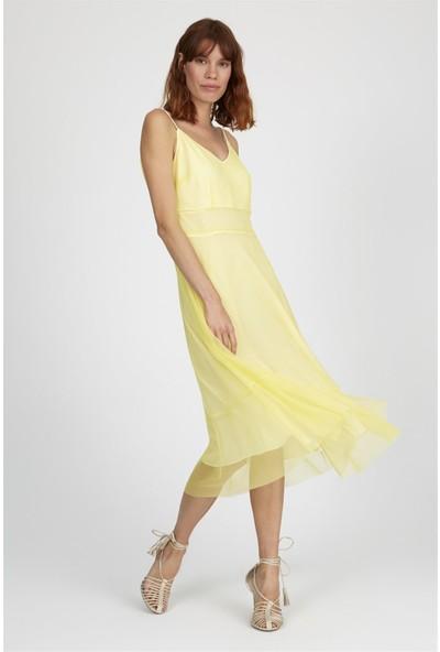 Setre Limon Sarı Ip Askılı V Yaka Bele Oturan Volan Etek Tül Elbise
