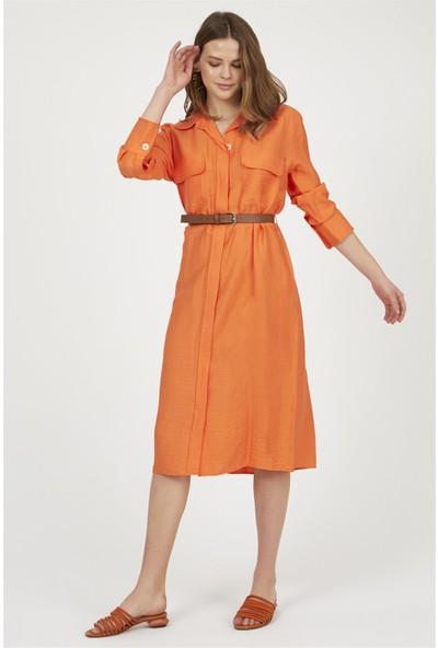 Setre Oranj Yaka Düğmeli Kemerli Uzun Kol Diz Altı Gömlek Elbise
