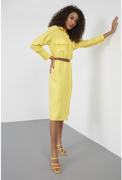Setre Sarı Yaka Düğmeli Kemerli Uzun Kol Diz Altı Midi Boy Gömlek Elbise