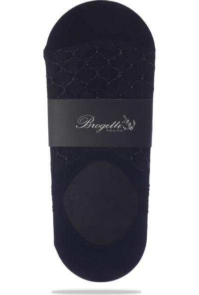 Socks Concept Petek Desenli Gümüş Simli Siyah Babet Çorap