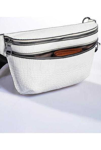 Sergio Giorgianni Luxury SG662 Kroko Beyaz Kadın Bel Çantası