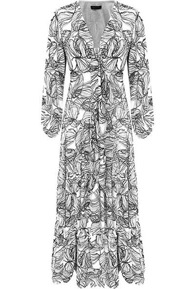 Rivus Balon Kollu Anvelop Bağlamalı Fırfırlı Uzun Elbise