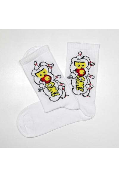 Peajack Boom Bowling Desenli Beyaz Soket Çorap