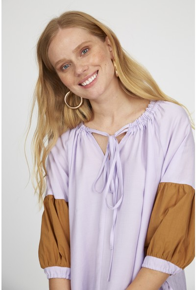 Setre Lila-Camel Bağcık Yaka Balon Kol Colorblock Tunik