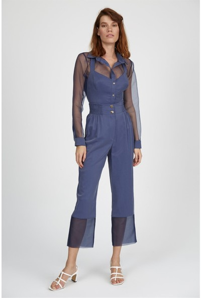 Setre Lacivert Yaka Astar Bluzlu Uzun Kol Transparan Gömlek