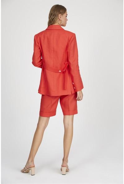 Setre Kırmızı Mono Yaka Uzun Kol Vatkalı Keten Ceket Günlük Ceket