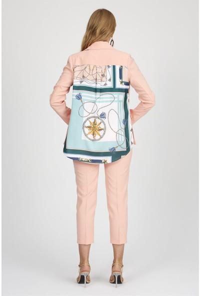 Setre Somon Yaka Uzun Kol Basen Boy Blazer Ceket