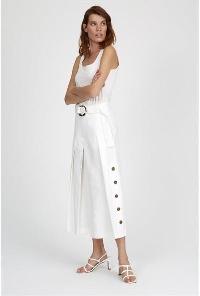 Setre Ekru Pileli Düğme Detaylı Culotte Günlük Pantolon