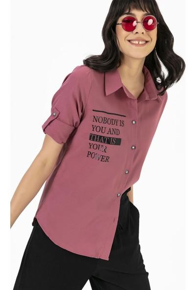 Liplipo Kadın Kol Katlamalı Yazılı Gömlek