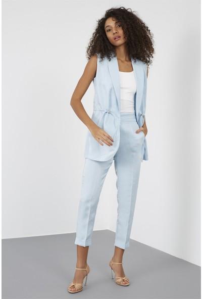 Setre Kadın Bebe Mavi Yelek Pantolon Takım