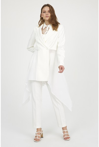 Setre Kadın Ekru Mixli Ceket ve Kalem Pantolon Takım