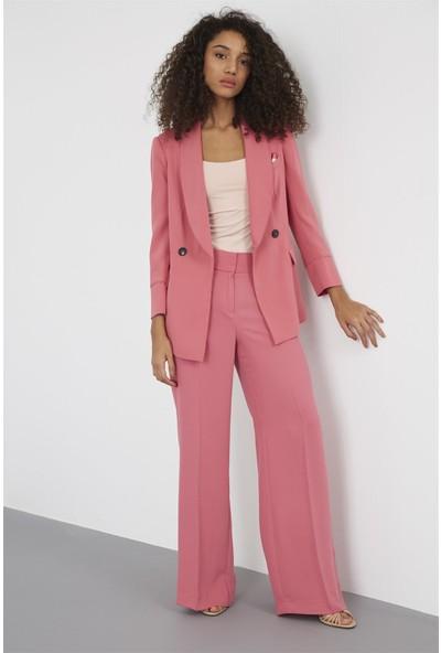 Setre Kadın Koyu Pembe Pantolon Kruvaze Ceket Takım