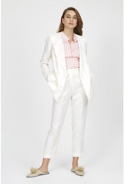 Setre Kadın Vanilya Mono Yaka Uzun Kol Parlak Kumaş Blazer Ceket Kalem Pantolon Takım