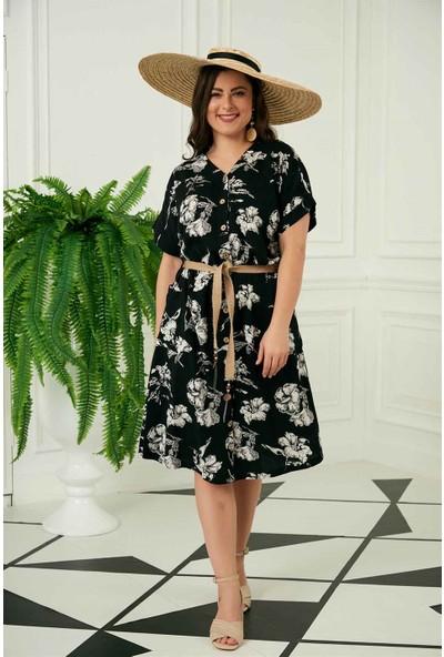 Rmg Çiçek Desenli Kemer Detaylı Büyük Beden Siyah Keten Elbise