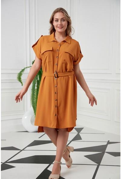 Rmg Bağcık Detaylı Düşük Kollu Büyük Beden Hardal Elbise