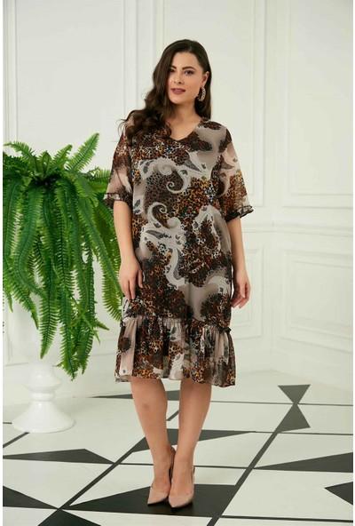 Rmg Kol Detaylı Leopar Desenli Büyük Beden Vizon Elbise