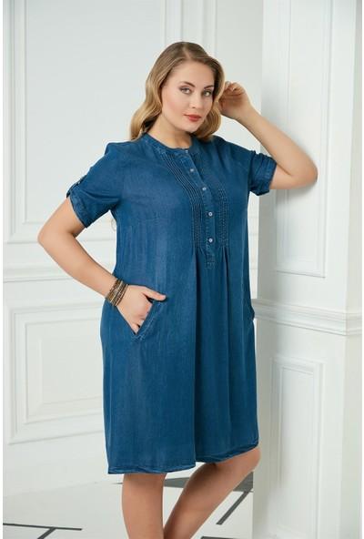 Rmg Büyük Beden Tensel Elbise Mavi