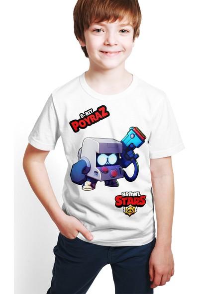 Brawl Stars - 8 Bit - Dijital Baskılı Beyaz Kişiye Özel T-Shirt E-02