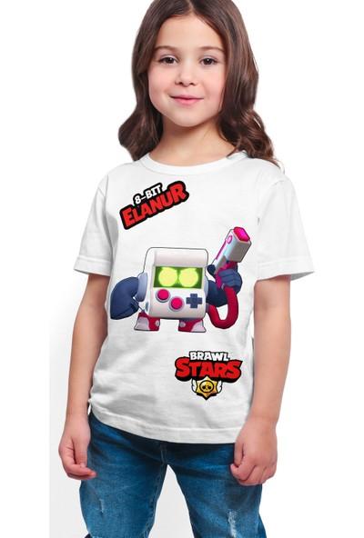 Brawl Stars - 8 Bit - Dijital Baskılı Beyaz Kişiye Özel T-Shirt K-01