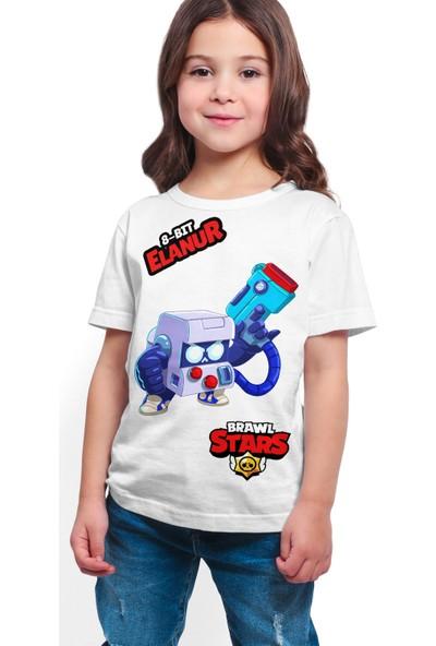 Brawl Stars - 8 Bit - Dijital Baskılı Beyaz Kişiye Özel T-Shirt K-02