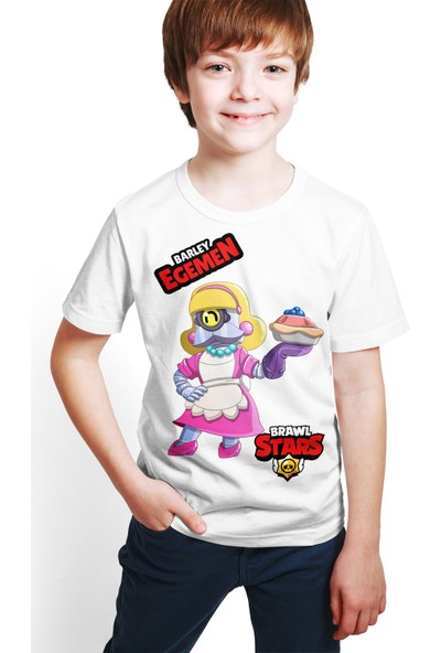 Brawl Stars - Barley - Dijital Baskılı Beyaz Kişiye Özel T-Shirt E-05