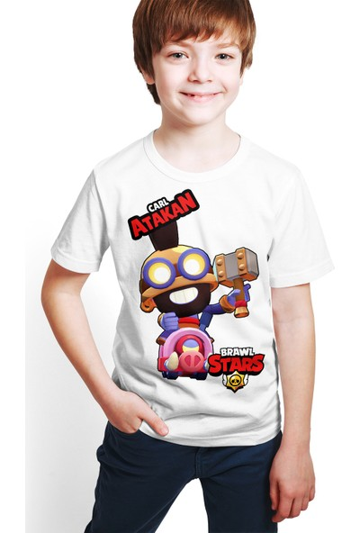 Brawl Stars - Carl - Dijital Baskılı Beyaz Kişiye Özel T-Shirt E-03