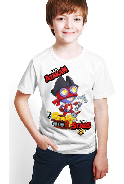 Brawl Stars - Carl - Dijital Baskılı Beyaz Kişiye Özel T-Shirt E-04