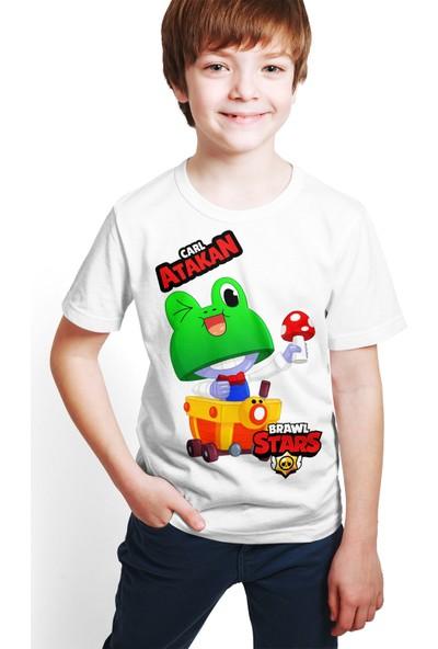 Brawl Stars - Carl - Dijital Baskılı Beyaz Kişiye Özel T-Shirt E-06
