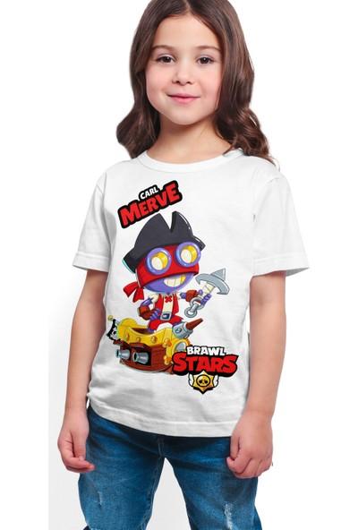 Brawl Stars - Carl - Dijital Baskılı Beyaz Kişiye Özel T-Shirt K-04