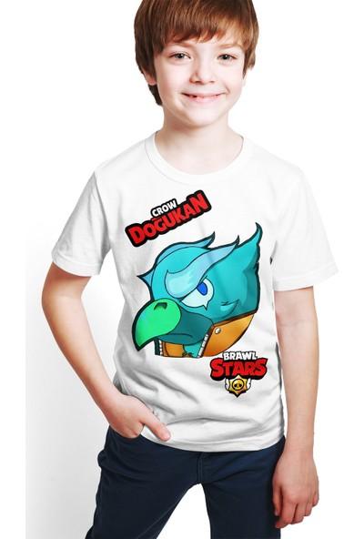 Brawl Stars - Crow - Dijital Baskılı Beyaz Kişiye Özel T-Shirt E-08