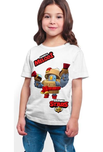 Brawl Stars - Darryl - Dijital Baskılı Beyaz Kişiye Özel T-Shirt K-02