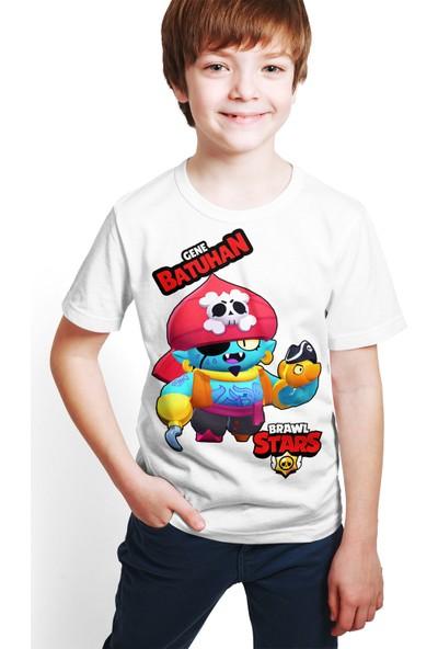 Brawl Stars - Gene - Dijital Baskılı Beyaz Kişiye Özel T-Shirt E-04
