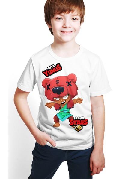 Brawl Stars - Nita - Dijital Baskılı Beyaz Kişiye Özel T-Shirt E-03