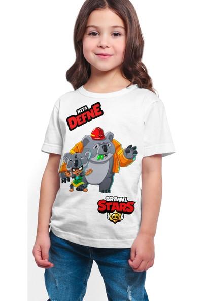 Brawl Stars - Nita - Dijital Baskılı Beyaz Kişiye Özel T-Shirt K-05
