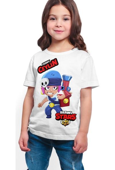 Brawl Stars - Penny - Dijital Baskılı Beyaz Kişiye Özel T-Shirt K-01