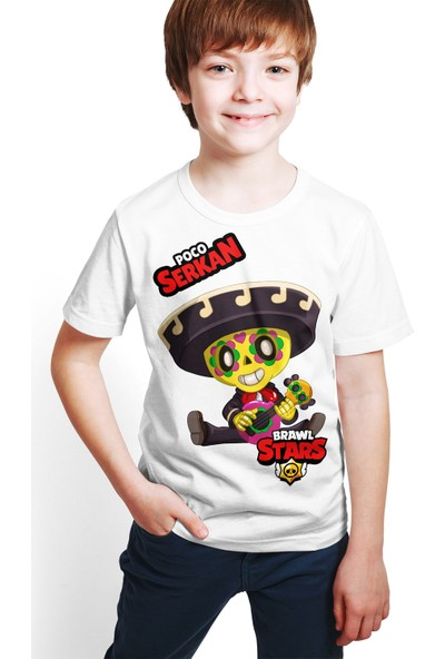 Brawl Stars - Poco - Dijital Baskılı Beyaz Kişiye Özel T-Shirt E-01
