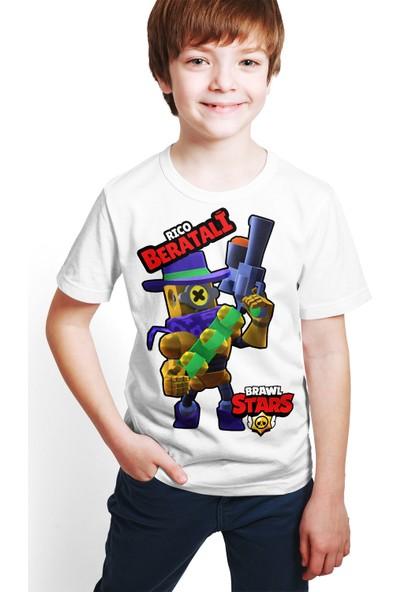 Brawl Stars - Rico - Dijital Baskılı Beyaz Kişiye Özel T-Shirt E-04
