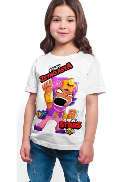 Brawl Stars - Sandy - Dijital Baskılı Beyaz Kişiye Özel T-Shirt K-01