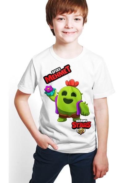 Brawl Stars - Spike - Dijital Baskılı Beyaz Kişiye Özel T-Shirt E-01
