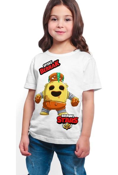 Brawl Stars - Spike - Dijital Baskılı Beyaz Kişiye Özel T-Shirt K-02