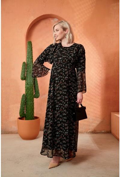 Görsin Desenli Uzun Hamile Siyah Elbise
