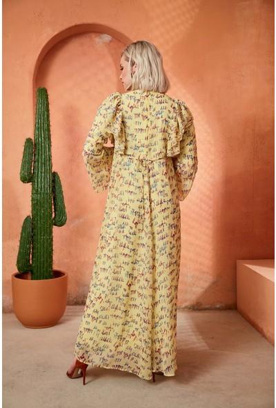 Görsin Desenli Uzun Hamile Sarı Elbise