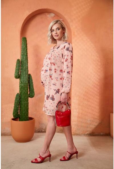 Görsin Çiçek Desenli Uzun Kol Hamile Şifon Pudra Elbise